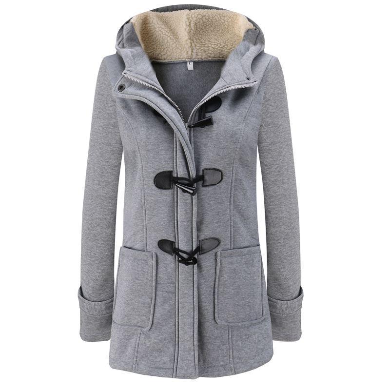 sale retailer df2b6 cc4b9 Mode Herbst Frauen Wollmischung Dufflecoat Mantel Damen Mit Kapuze Kragen  Langarm Jacke Mantel Slim Fit Reißverschluss Outwear YF158