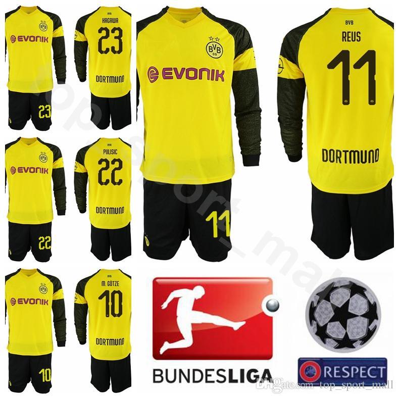 huge sale 07a43 8263e 18 19 Borussia Dortmund Long Sleeve 11 Marco Reus Jersey Men Bundesliga  Soccer 10 GOTZE 22 PULISIC 20 PHILIPP Football Shirt Kits Uniform