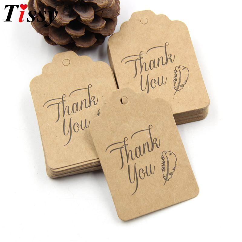 New DIY Paper Tags+10M Rope Thank You Paper Card Tag Labels Party Favors Wedding Note Hang Tag Gift Wrapping Supplies