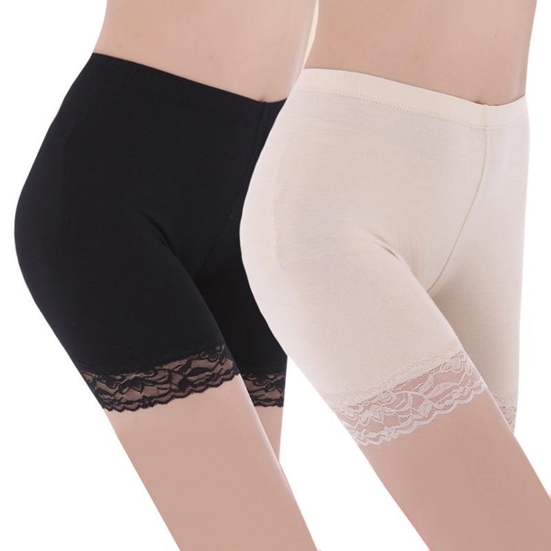 Höschen Frauen Plus Größe Sicherheits Kurze Hosen Sexy Mittlere Taille Elastische Anti Chafing Spitze Dame Shorts Mädchen Boxer Unterwäsche Damen-dessous