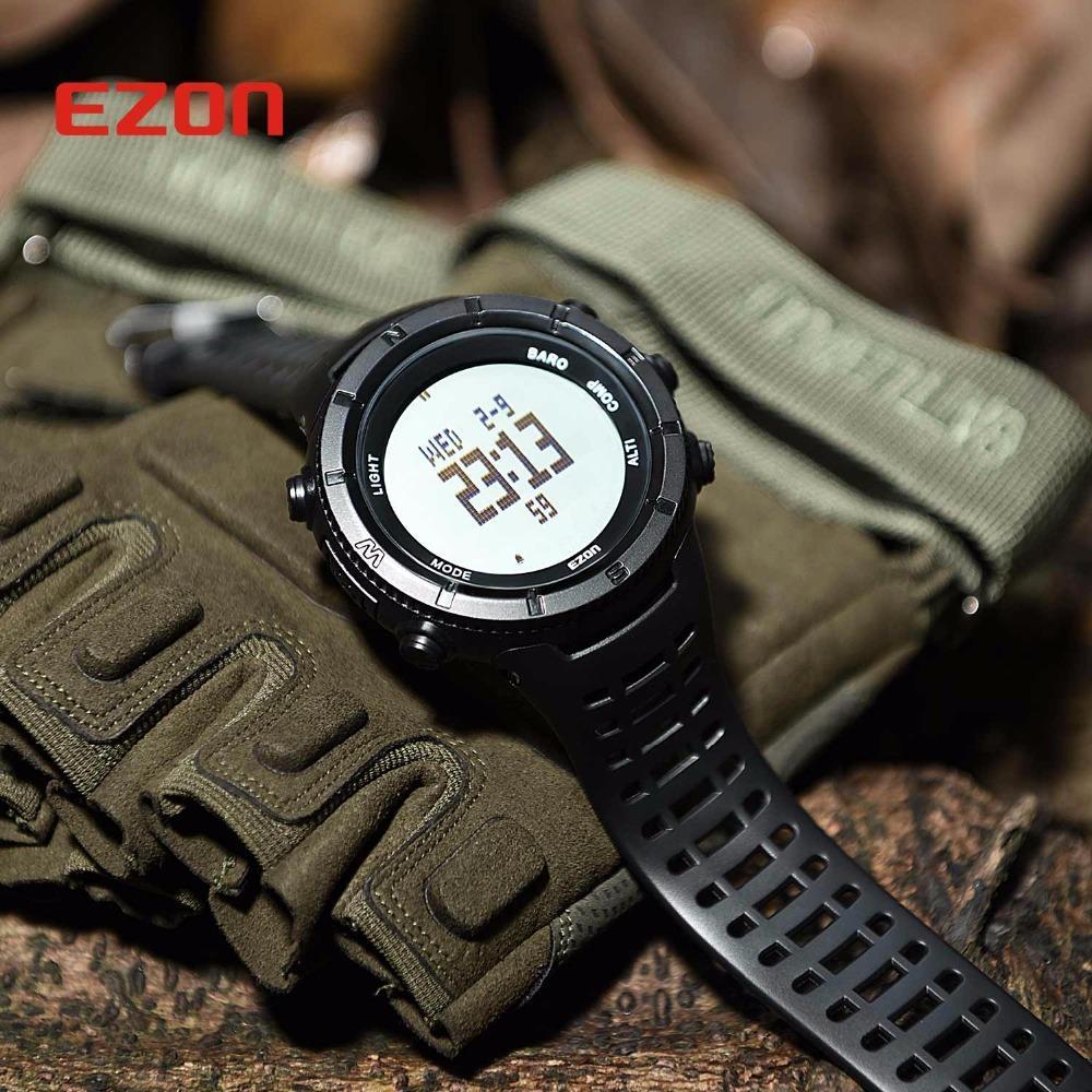 87b0f89a16f4 Compre EZON Altímetro Barómetro Termómetro Brújula Pronóstico Del Tiempo Aire  Libre Hombres Relojes Digitales Deporte Horas Escalada Senderismo Reloj De  ...