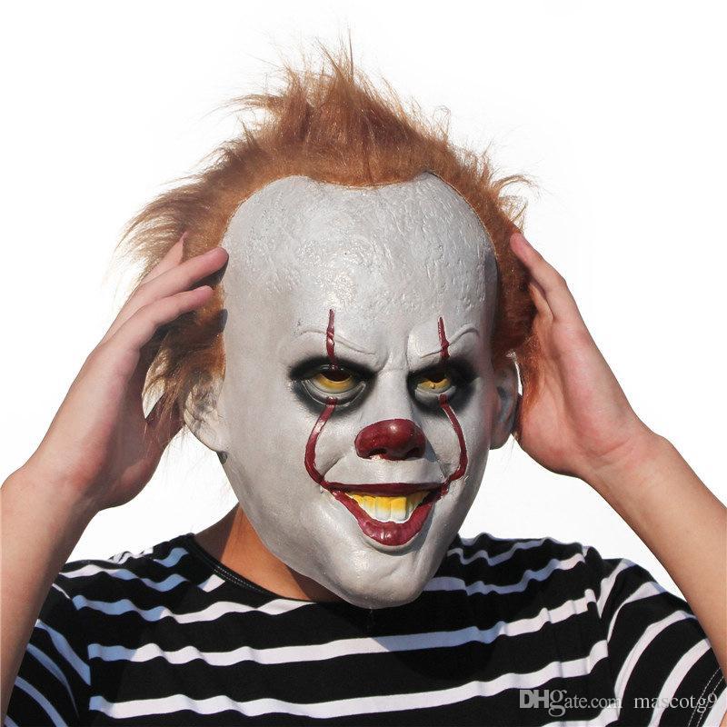 Película de Stephen King Máscara Horror Payaso Máscara de Joker Disfraz de Cosplay de Halloween hecho a mano Disfraz de Stephen King