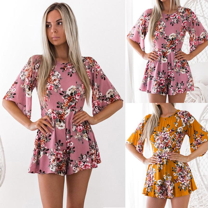 Women Ladies Fashion Sweet Summer Jumpsuits 2 Style Half Flare Sleeve O-Neck Floral Print Backless Slim Jumpsuits S/M/L/XL