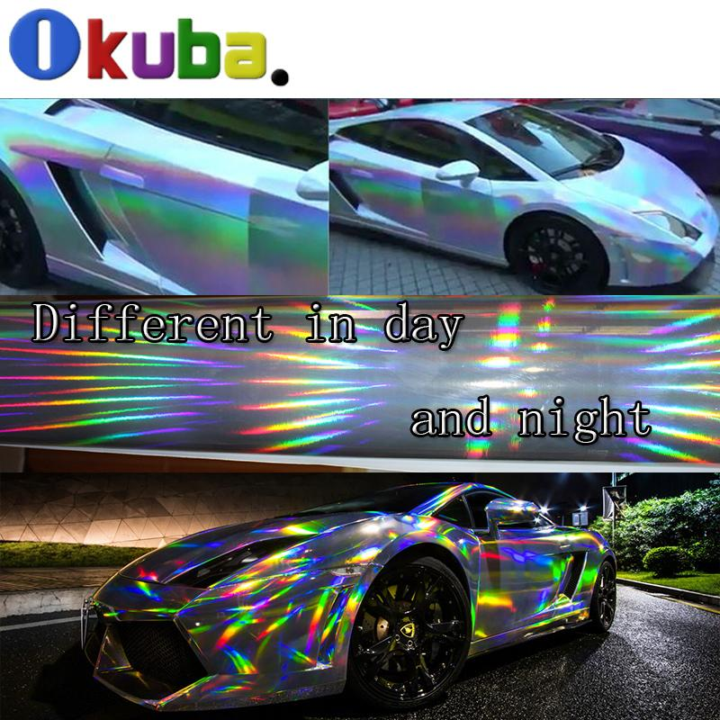 2019 Holographic Chrome Vinyl Laser Plating Rainbow Black Silver