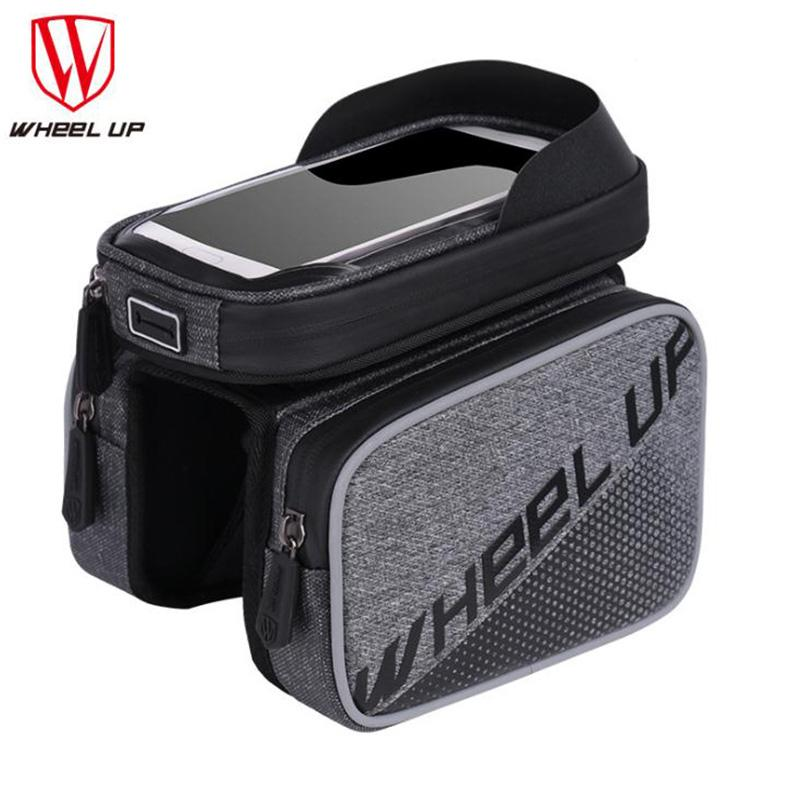 Wheel Up Cycling Bike Front Frame Bag Tube Pannier Double Pouch For