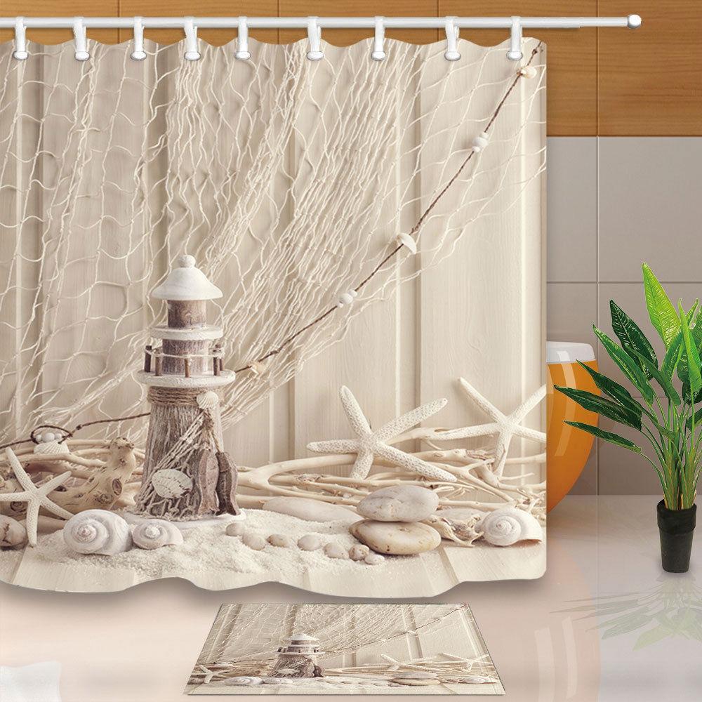 2018 Marine Life Decoration Bath Curtain Starfish Polyester Bathroom ...