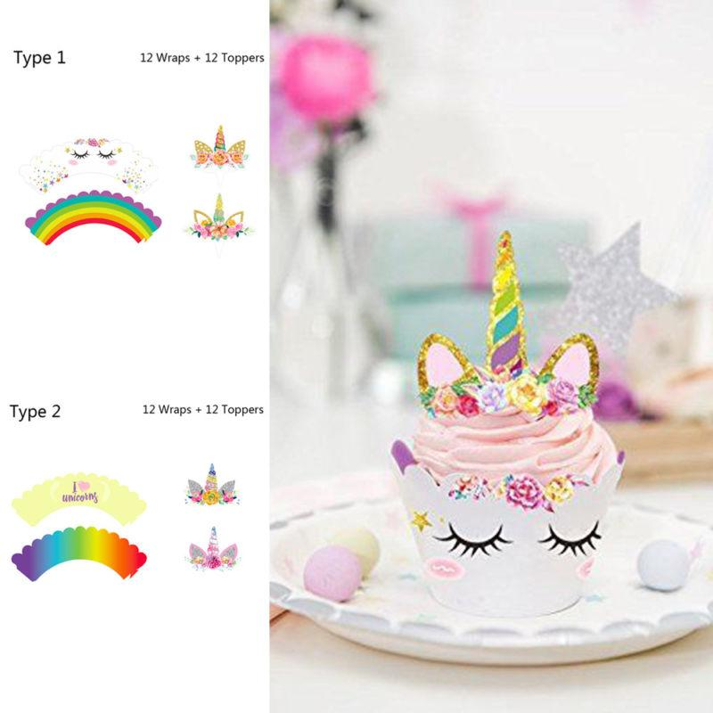 2019 Rainbow Unicorn Cupcake Cake Wrappers Toppers Baby Shower Kids Birthday BBA257 From Liangjingjing No1