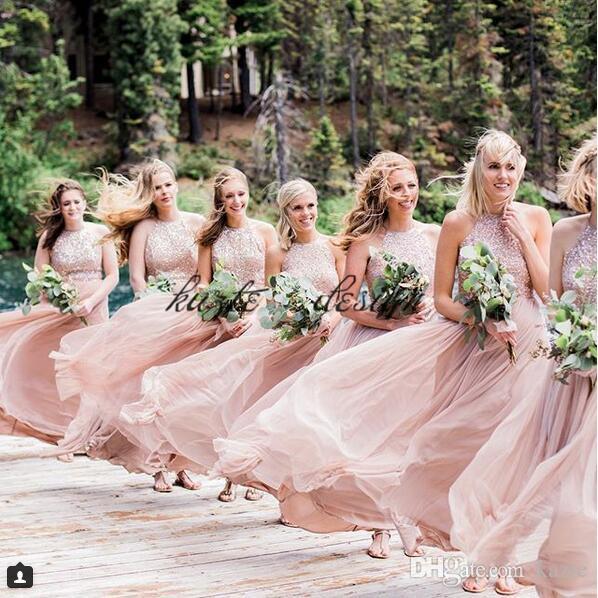 Blush Fairy Flowing Beach Holiday Long Bridesmaid Dresses