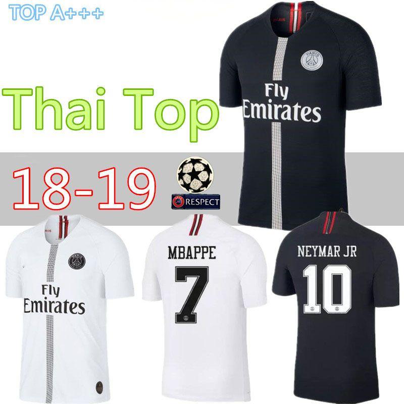 buy popular 4f6ed e9aec 18 19 psg jersey 7 mbappe black white champions league maillot de foot 2018  2019 Paris 9 CAVANI CHOUPO-MOTING third 3rd soccer shirts