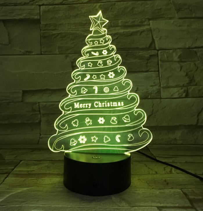 Christmas gift Christmas tree night light 3D creative remote control colorful LED small table lamp visual light 692