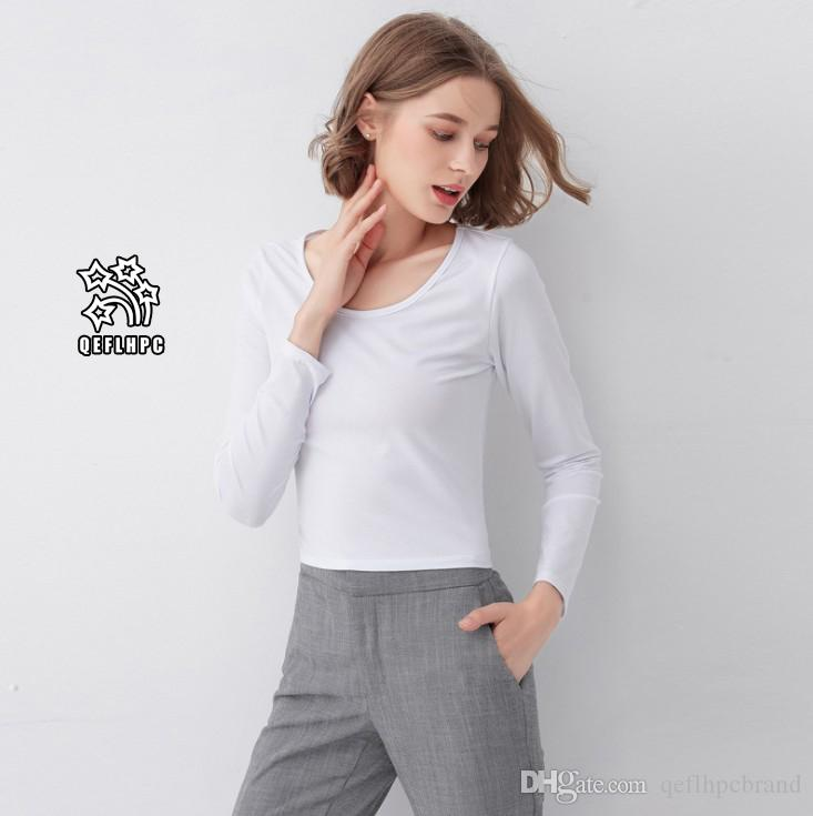 944dfdd67b131 Autumn Winter Ladies Bottoming Shirt Long Sleeves Black White T Shirt Scoop  Neck Elasticity Women T Shirt Women Tops   Tees Short AAL1892 Really Funny T  ...