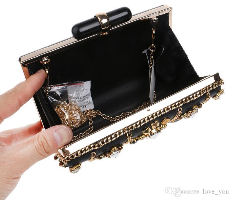 New Women's Beaded High-end Banquet Noble Evening Bag Black Diamond Beautiful Handmade Dinner Clutch LY07