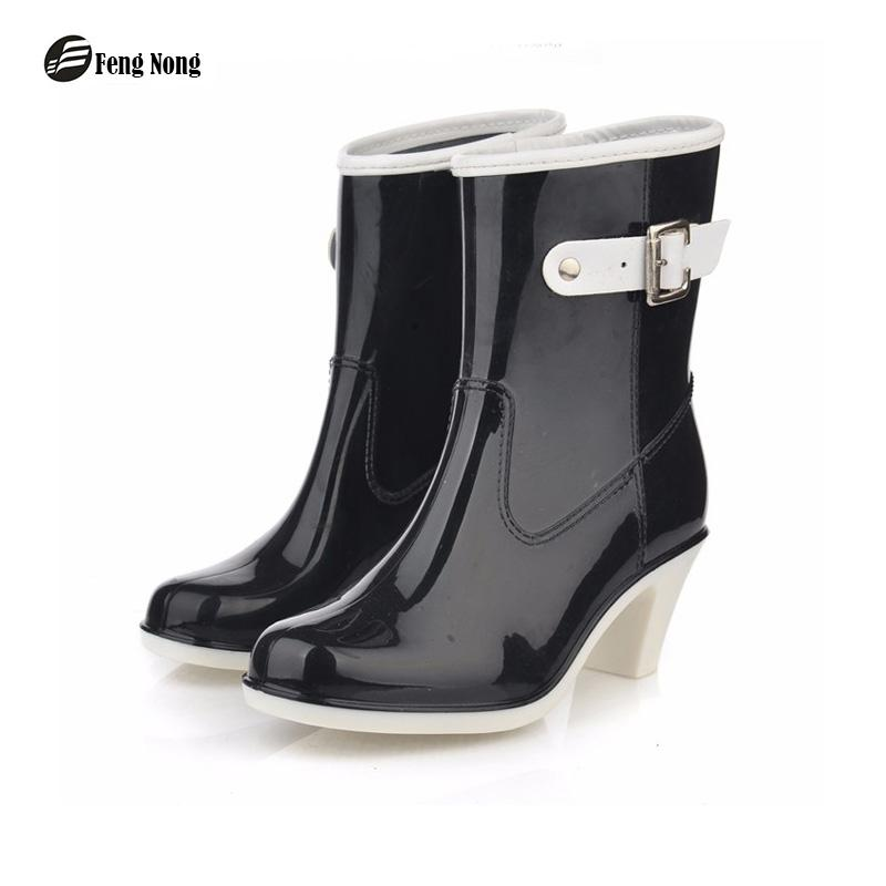 5076beacc7e Feng Nong mid calf arrival rain boots waterproof buckle shoes woman  rainboots rubber mid-calf boots good quality botas w033