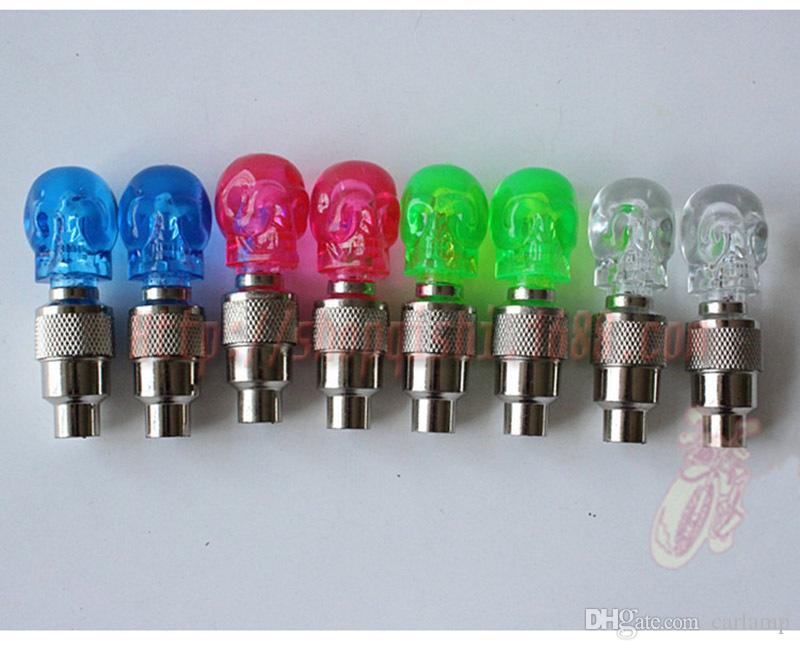 Bike LED Light Skull Shape Valve Cap Wheel Tyre Flash Lamp Bicycle Accessories Mix Color Cycling Wheel Tyre Lamp