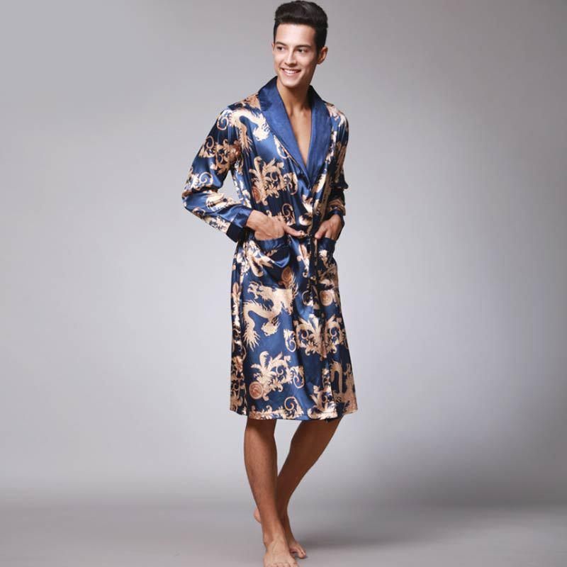 2019 Luxury Men Robe Bathrobe Faux Silk Robes Long Home Clothing Male Sleep  Robe XXL Summer Homewear From Chikui f017bcc5f