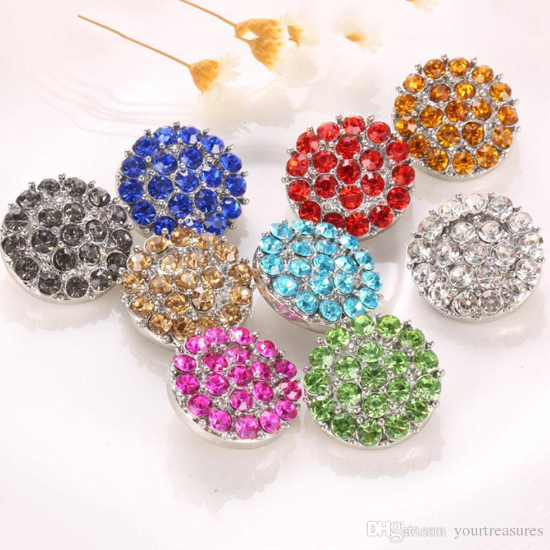 10Pcs Snap Jewelry High Quality Rhinestone Flower Metal Snap press Buttons for 18mm Snap bracelet Wholesale jewelry