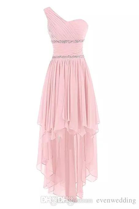 One Shoulder Chiffon High Low Bridesmaid Dresses Lace Up Wedding Party Dress Beaded Prom Gowns Custom Made