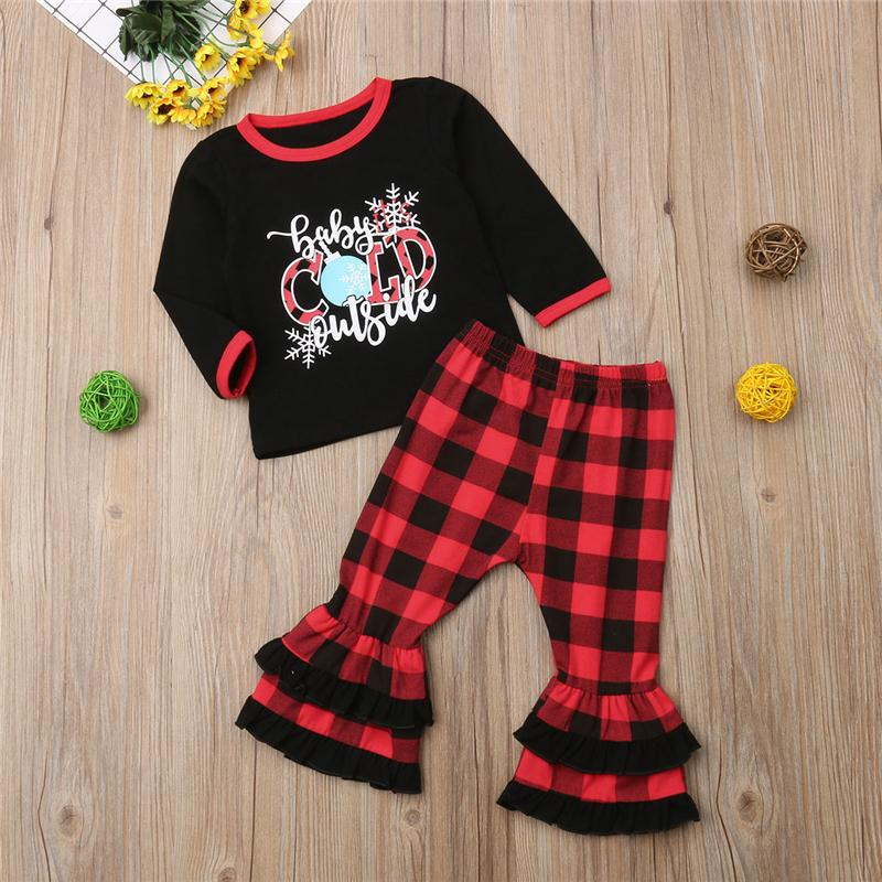 d6ad2587b 2019 Christmas Newborn Kids Baby Girl Tops T Shirt Red Black Plaid Long  Pants COLD Outfits Clothes Costume 3 24M 2 4Y From Qwinner, $37.42 |  DHgate.Com