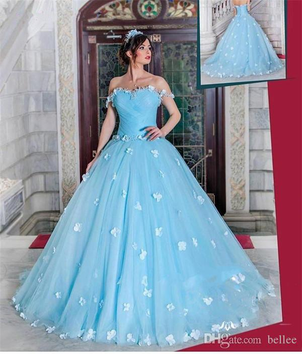 2018 Blue Quinceanera Dresses Ball Gown Off Shoulder Sweep Train ...