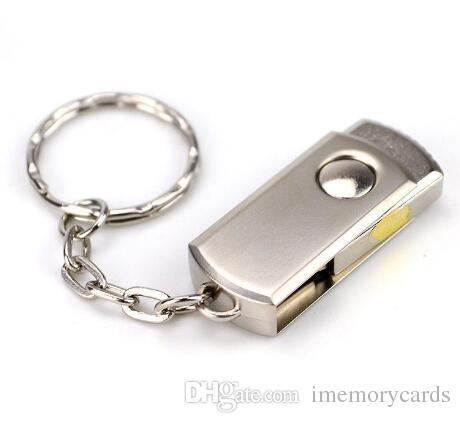 64기가바이트 128기가바이트 256기가바이트 골드 실버 금속 키 링 Swive USB 안드로이드 ISO 스마트 폰 태블릿 2.0 플래시 드라이브 메모리
