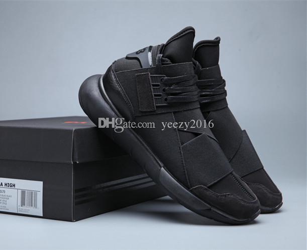 db14a6a52 2019 All Black Color Mens Y3 Qasa High Top Sneakers Good Quality Womens Shoe  Unisex Men Classic Y 3 White Red Shoes Boots Size 36 45 From Yeezy2016