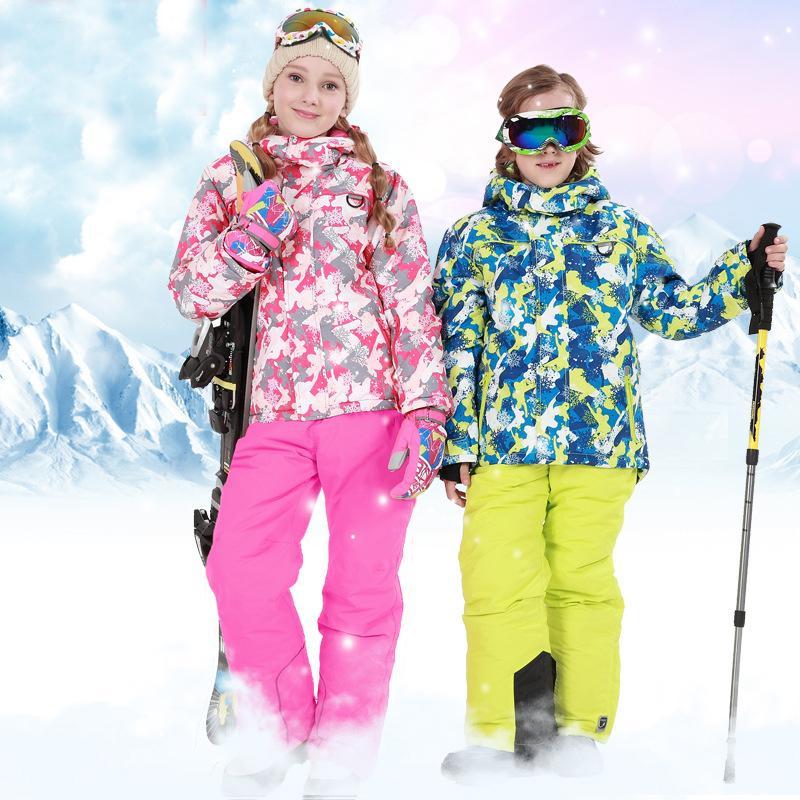 6575854ea8b0 2019 Children Snow Suit Outdoor Windproof Boys Girls Ski Sets Kids ...