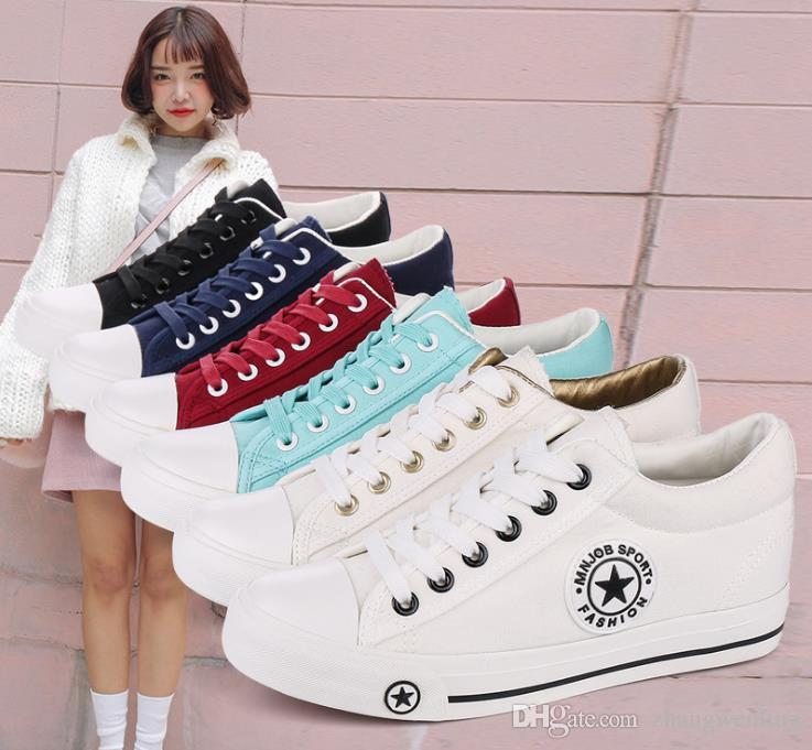 0dbad6459 Summer Sneakers Wedges Canvas Shoes Women Casual Shoes Female Cute White  Basket Stars Zapatos Mujer Trainers 5 Cm Height Buy Shoes Online Slip On  Shoes From ...