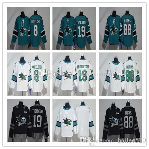 49bde83a651 Mens San Jose Sharks Jersey Hockey 8 Joe Pavelski 19 Joe Thornton 88 ...