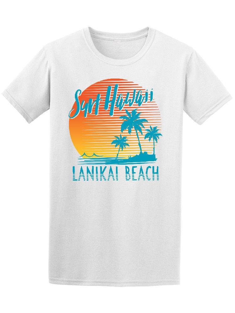 Surfer Hawaii Lanikai Beach Graphic Tee Printed T-Shirt Pure Cotton Men top tee Fashion 2018 Top Tee Mens