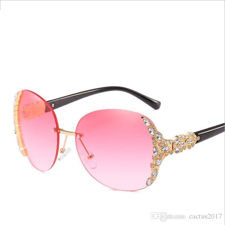 f1c4a0d4f1 Rimless Luxury Rhinestone Sunglasses Women 2018 Brand Designer Sun Glasses  Female Fashion Candy Colors Glasses Uv400 Hot Selling Cheap Eyeglasses  Online ...