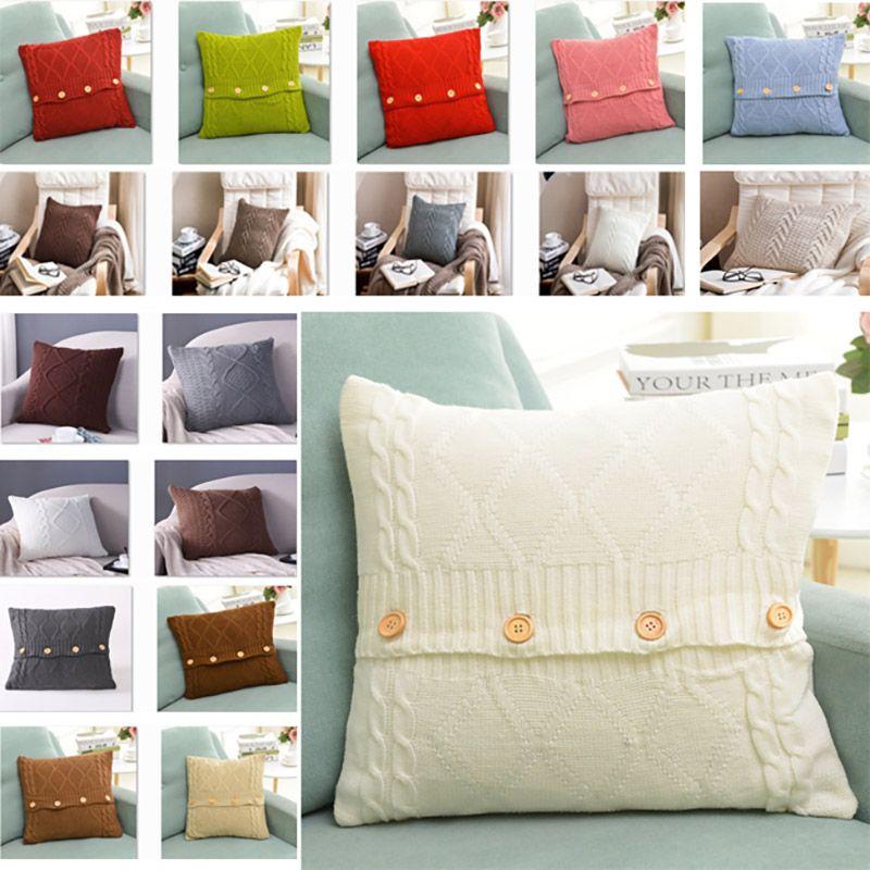 4545cm Knitted Pillow Case Cover European Crochet Button Chevron