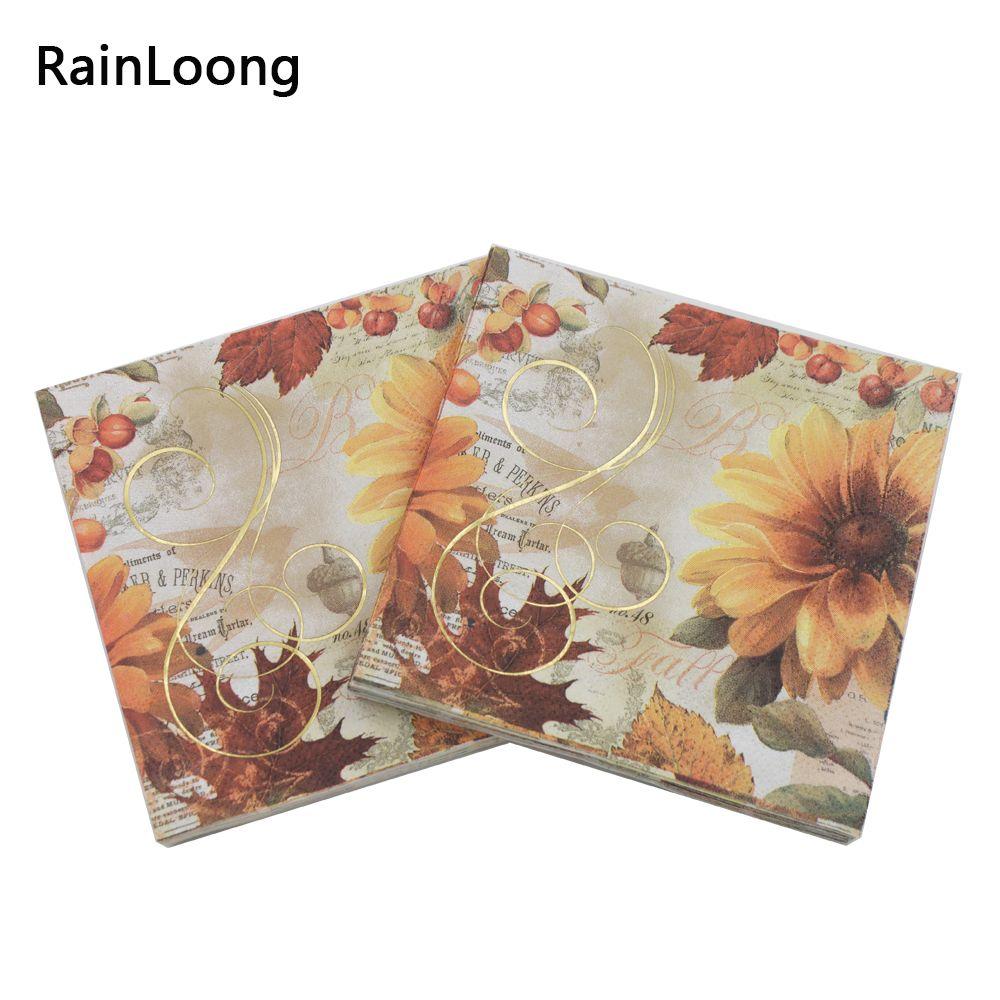 2018 Rainloong 3plys Beverage Paper Napkin Flower Gold Foil Festive