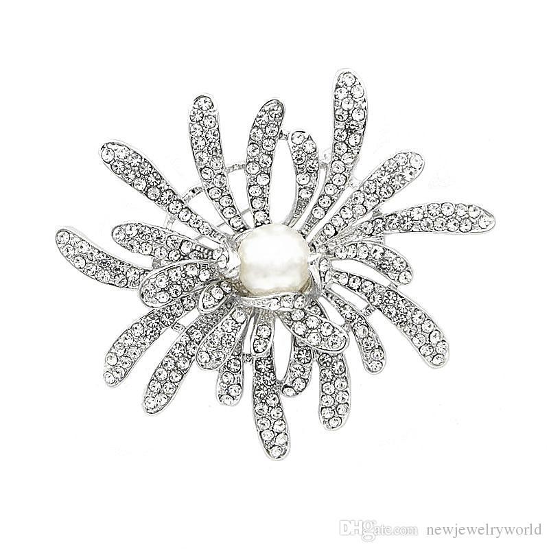 Роскошные Потрясающие Diamante Женщины Цветок Брошь Элегантный Свадьба Свадебный Букет Брошь Pin Новый Дизайн Имитация Жемчуга И Кристаллы Шарф Pin