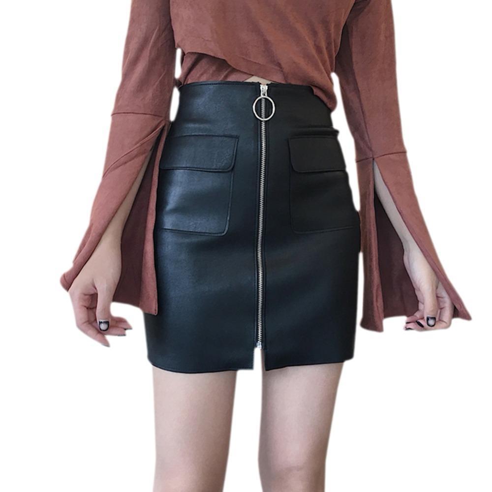 8fc833095616 Sexy cremallera falda corta de cuero de la PU una línea de cintura alta  Mini falda con bolsillos ropa de mujer