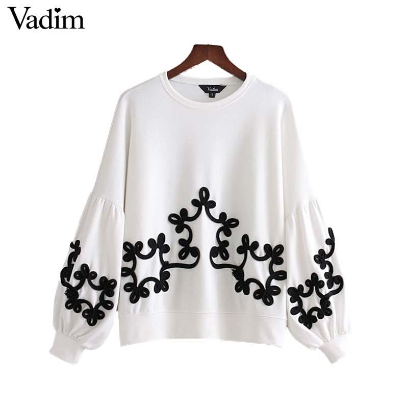 Vadim women chic string decorate oversized sweatshirt lantern sleeve loose pullover autumn fashion casual wear sudaderas SW1296