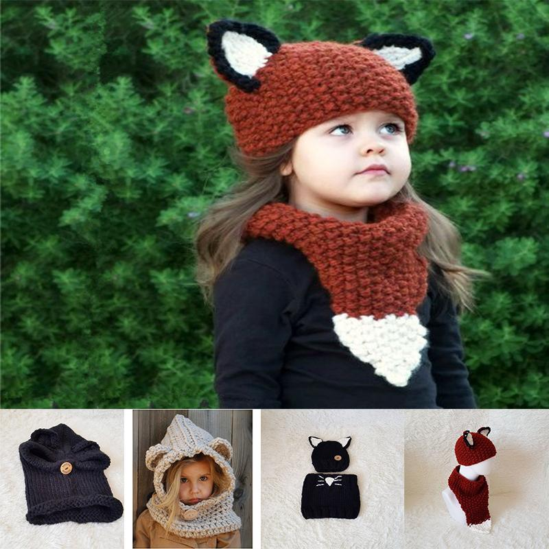 9afd70d9d02 6 Styles Girls Hats Scarf Cat Fox Ear Baby Knitted Winter Kids Boys Girls  Warm Shapka Caps Children Beanies Accessory TC181101 Diy Paper Party Hats  Diy ...