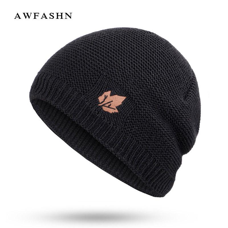 dcfd6e196a8 2019 Winter Beanies For Men Brand Solid Color Knit Beanie Hat Plus Velvet  Thicken Winter Hats Woman Warm Soft Cap Skullies Bone Male From Peachguo