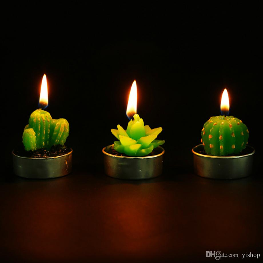 Christmas Candles.Cactus Scented Candles Mini Artificial Plants Home Interior Scent Candles Romantic Green Candle For Wedding Party Birthday Christmas Decora