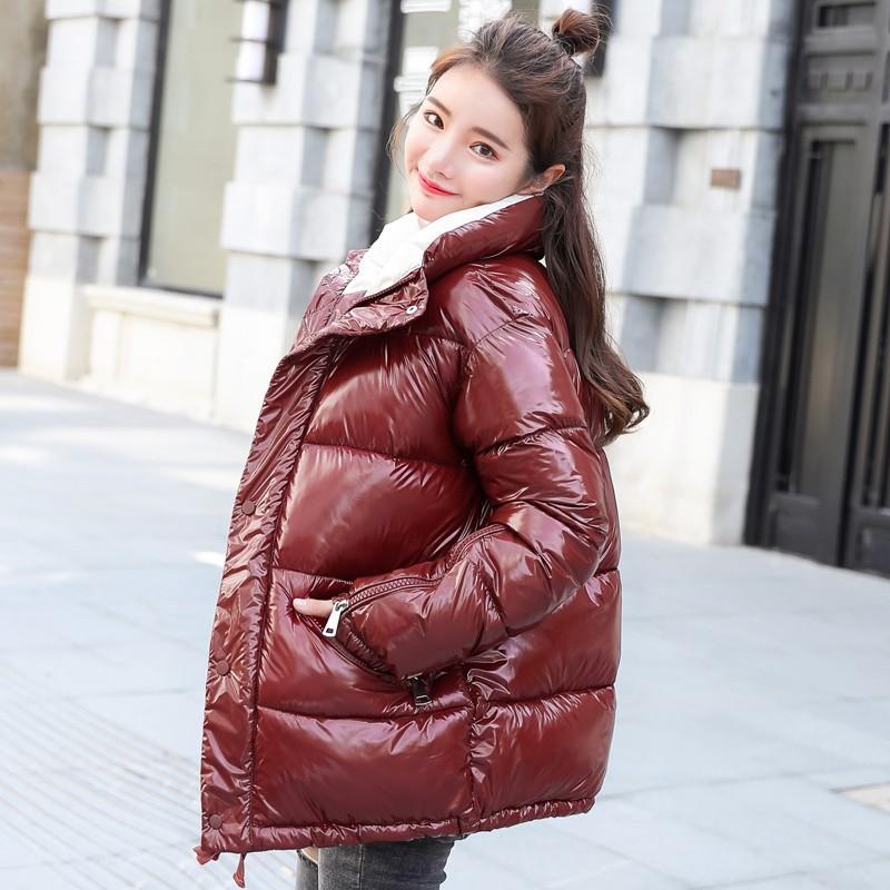 Acheter 2018 Nouvelle Mode Métal Solide Noir Rouge Bright Vestes Manteaux Hiver  Femmes Warm Down Coton Rembourré Longues Parkas Outwear De  58.4 Du ... 8871c3a4382