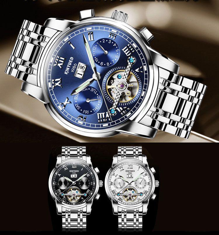 152a28f7515 Compre KINYUED Suíço Real Homens Americanos De Alto Grau Azul Face Tournion Relógio  Automático Noite Luz Entrega Impermeável.