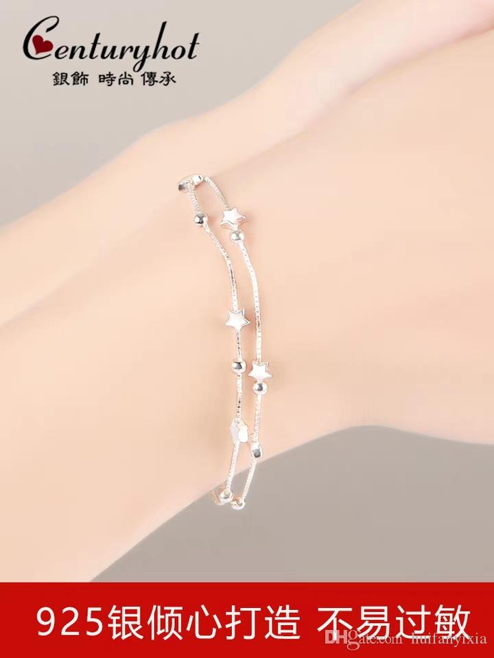 2019 Sterling Silver Multi Bracelet Female Korean Version Simple Personality Student Star Bead Double Girlfriend Birthday Gift From Huifanyixia
