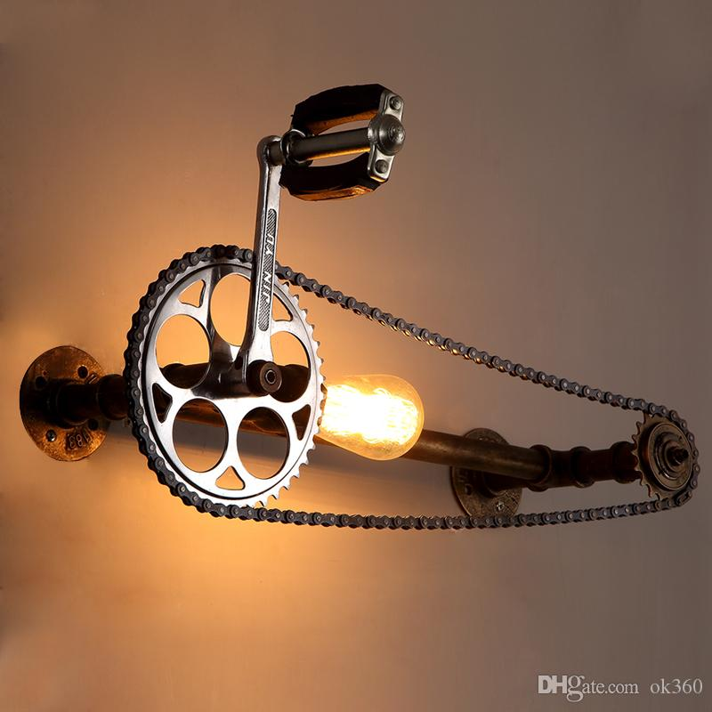 loft vintage water pipe wall lamp E27 Edison Bicycle wheel gear chain wall light for restaurant bar cafe pub bedroom livng room stair