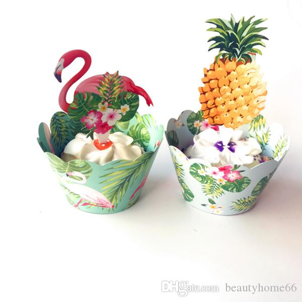 Flamingo Swan Pineapple Cupcake Wrappers Cake topper Baby kids Birthday Wedding Holiday Beach Party Supplies Decoration