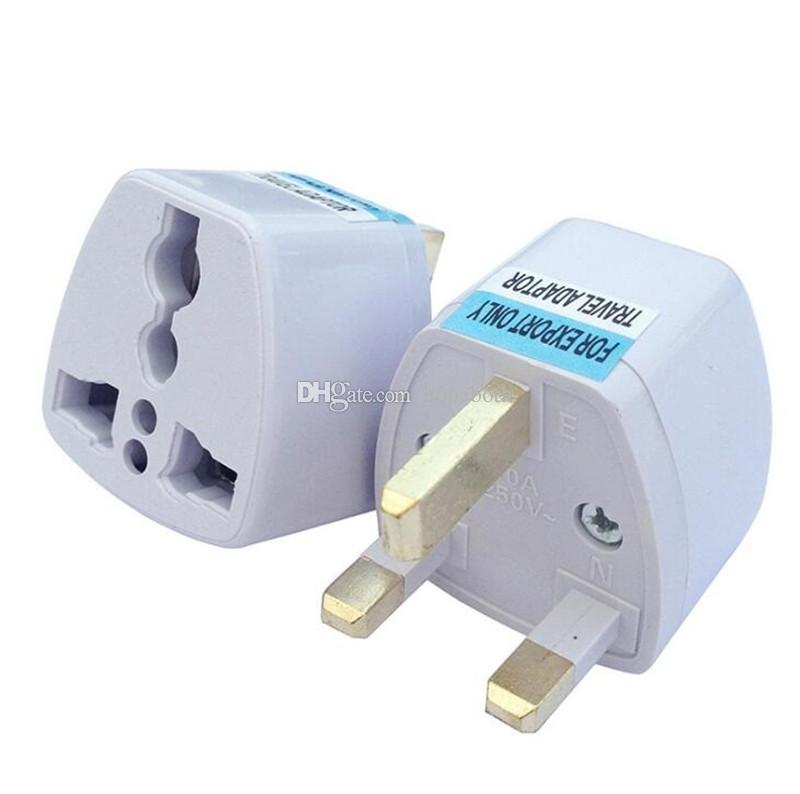 Universal Travel Adapter EU US AU to UK AC Travel Power Plug Charger Adapter Converter 250V 10A Socket Converter White