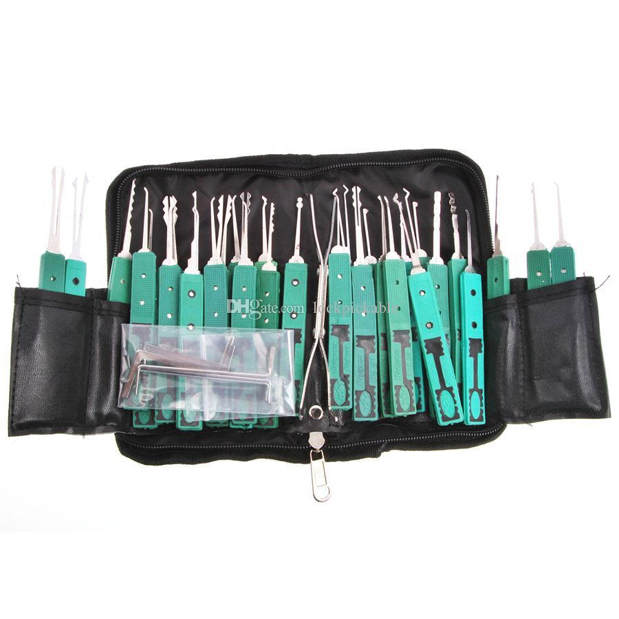 Set di grimaldelli KLOM 32 pezzi con custodia in pelle / custodia in plastica - Kit di raccolta di base entrambi i fabbri Pro e principianti - in vendita