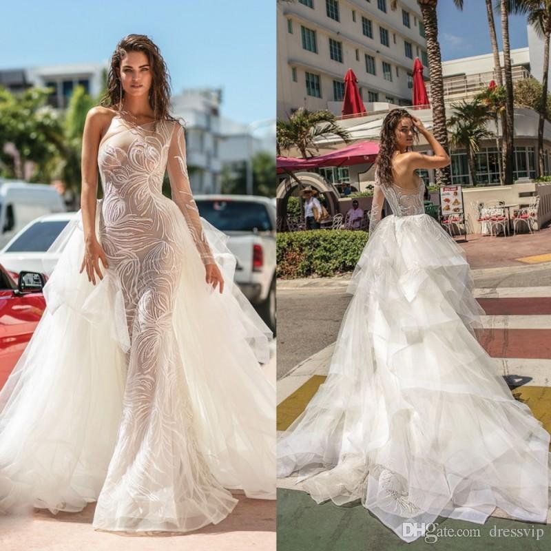 b6e55b1684 Berta 2019 Beach Wedding Dresses Detachable Over Skirts Illusion One  Shoulder Tiered Lace Bridal Gowns Sweep Train Mermaid Wedding Dress Mermaid  Style ...