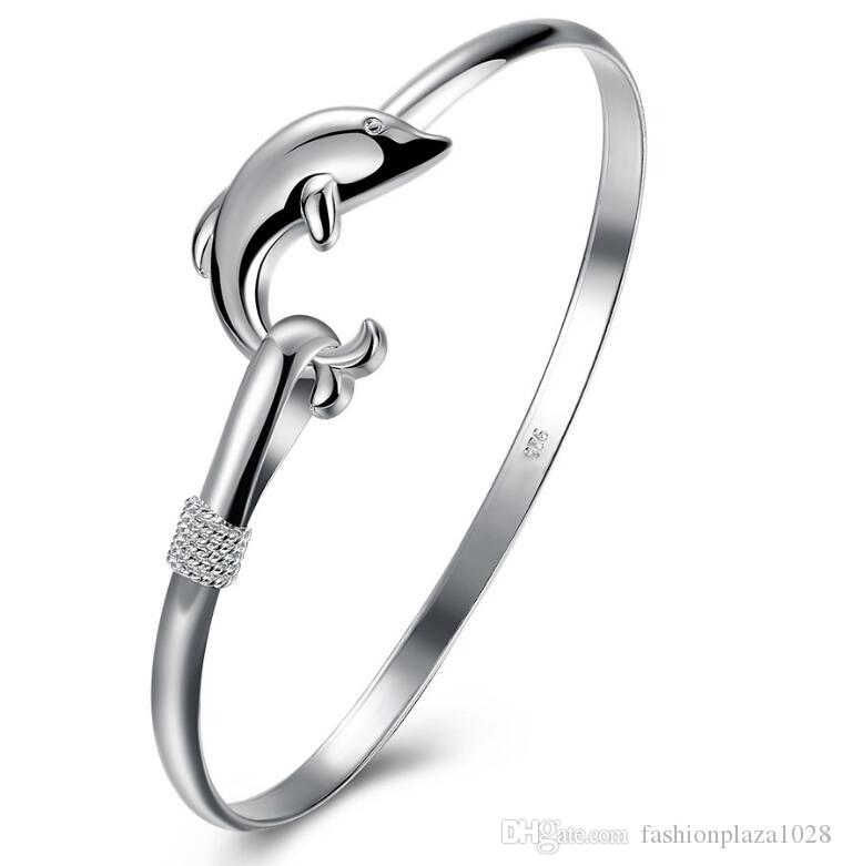 925 Silver New Product Charm Handmade Classic Dolphin Open Adjustable Bangles Antique 925 Silver Bracelets Bangles