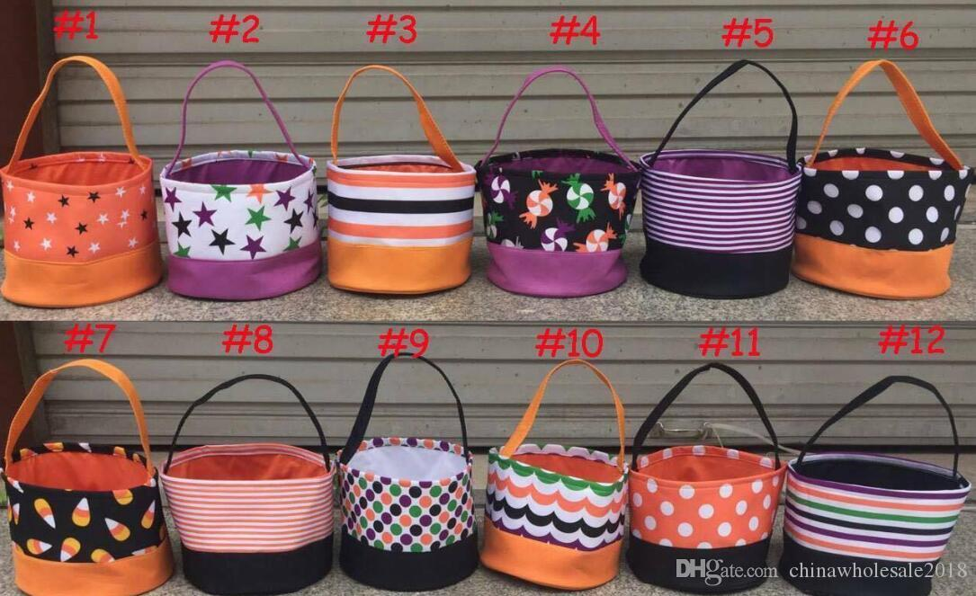 2018 monogram halloween bucket chevron polka dots stripe mix color treat or trick tote bags halloween gift candy collection bag btm080821 halloween bucket