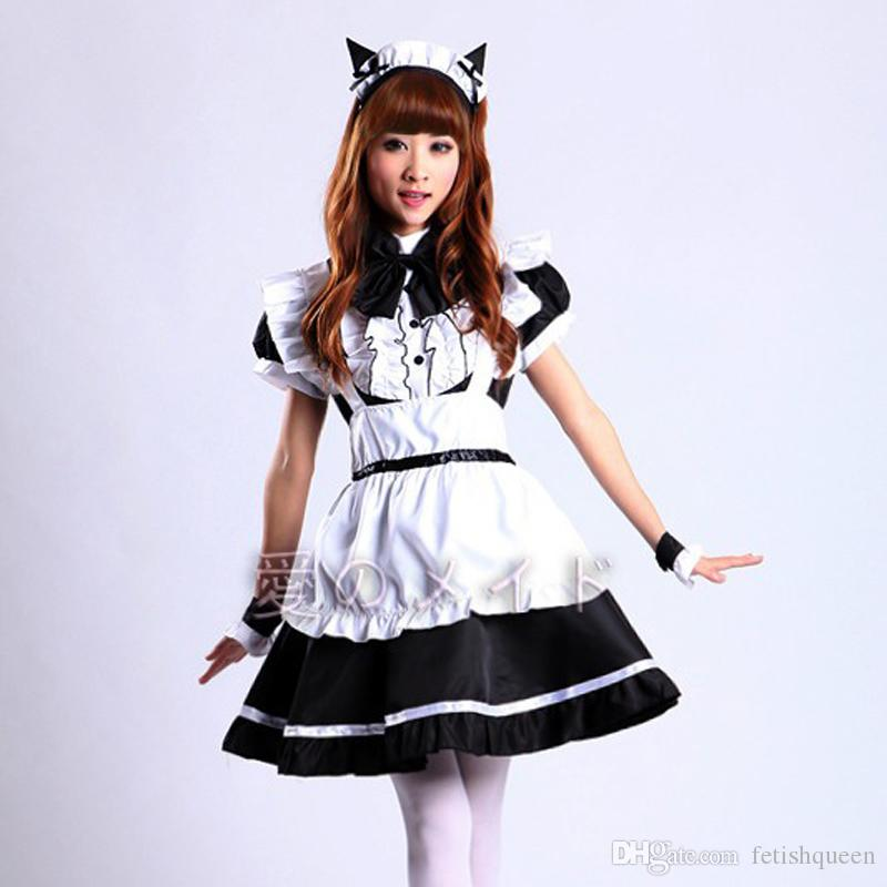 New Arrival Women's Cute Maid Cosplay Costume For Party Maid Gothic Lolita Dress With Ruffle Hemline