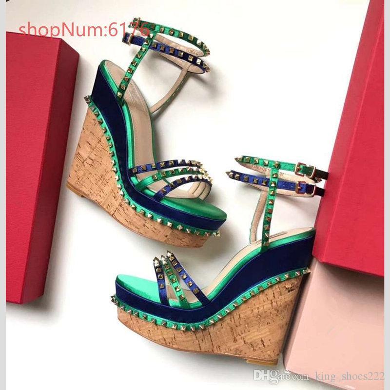 34bda86c197 Sandals for Women Rivets Studded Strappy Block Heels Slingback ...